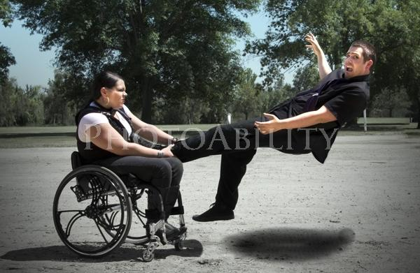 disabled;disability;access;accessible;inclusive;wheelchair;male;man;female;woman;outdoors;creative;levitation