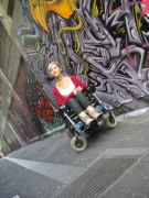 wheelchair;woman;female;disability;disabled;melbourne;victoria;australia;bourke-st;city;graffiti