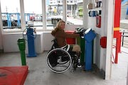 wheelchair;woman;disabled;disability;tourist;tourism;travel;holiday;Vancouver;British-Columbia;Canada;Fraser-River;New-Westminster