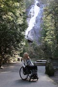 wheelchair;woman;disabled;disability;tourist;tourism;travel;holiday;Vancouver;British-Columbia;Canada;Shannon-Falls