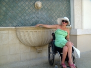 wheelchair;woman;palm-cove;accessible;accessibility;inclusive;florida;miami;USA;america;ocean;beach;sun;sand;balcony;sun;blue-sky;tropical;tropics;beach-bar
