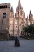 Woman-tourist-in-wheelchair-in-Barcelona,-Spain