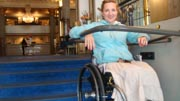 wheelchair;woman;disability;disabled;sweden;stockholm;Europe;accessible;accessibility;inclusion;travel;history;historic;lobby;wheelchair-lift