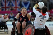 SCOTT-HOGSETT-USA-blocks-pass-from-ANDY-BARROW-GBR-during-the-preliminary-wheelchair-rugby-game-at-the-2012-London-Paralympics.