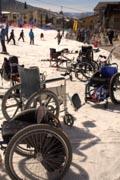 Wheelchairs-at-an-adaptive-snow-ski-program