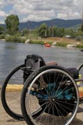 Canoeing-on-lake-whth-wheelchair-in-the-foreground