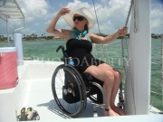 wheelchair;woman;female;sun;sea;boat;catamaran;florida;keys;florida-keys;accessible-boat;accessible;access;travel;day-trip;leisure;boating;inclusive-tourism