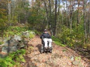 Man-in-power-wheelchair-enjoying-forest-trail