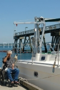 wheelchair;travel;accessible;inclusive;access;man;male;disability;disabled;dock;yacht;dock-hoist;jetty;catamaran