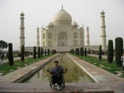 Man-using-wheelchair-at-the-Taj-Mahail,-India