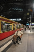 wheelchair;access;accessible;inclusion;man;male;train;transport;platform;commuting;station