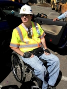 wheelchair;male;man;disability;disabled;professional;workman;hard-hat;archaeological;culture;inspector